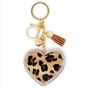 Accessories - Leopard Print Puffy Heart Bag Charm/Keyring